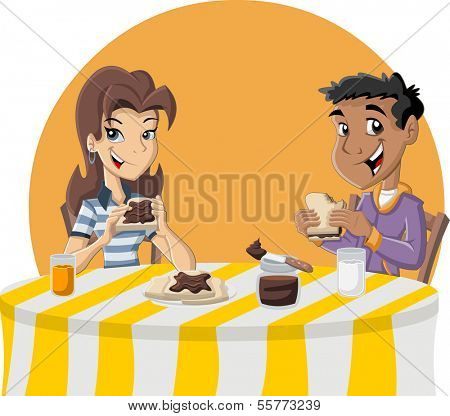 Couple of cartoon teenagers eating toast with chocolate nut paste for breakfast