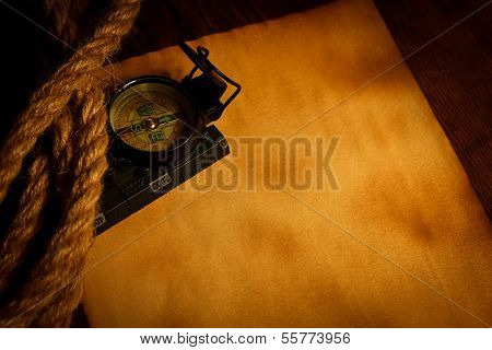 Compass And Cordage On Old Paper