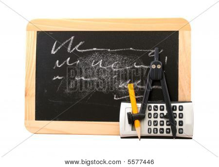 School Concept With Blackboard And Calculus Tools