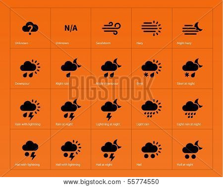 Weather icons on orange background.