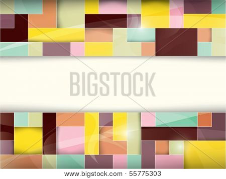 abstract banner background with two shiny mosaic patterns