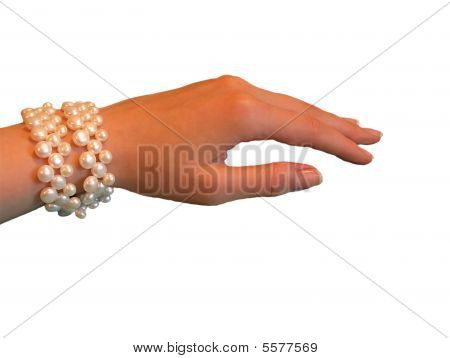 Woman Hand With Pearls