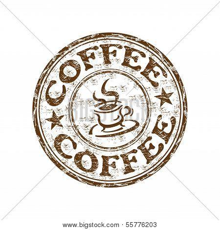 Coffee grunge rubber stamp