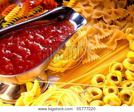 Assortment of raw pasta
