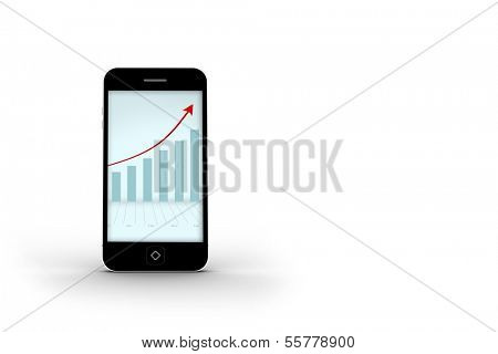 Arrows and barchart on smartphone screen