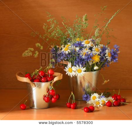 Beautiful Stillife With Cherries