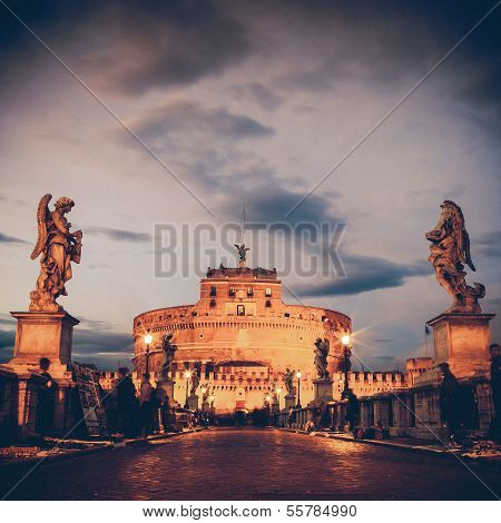 Vintage View Of Castel Sant'angelo From The Ponte Sant'angelo Bridge, Rome.