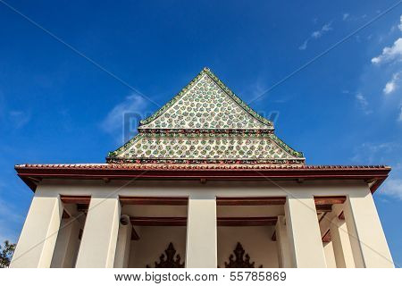 Ceramic Art On Tympanum, Wat Nang Nong