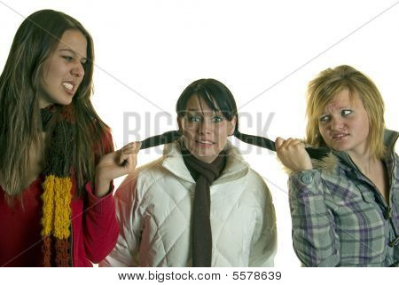 Three beautiful girls fight