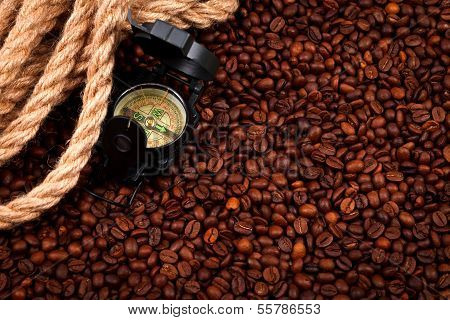 Coffee Beans With Compass