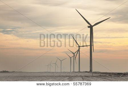 Windturbines At Dusk