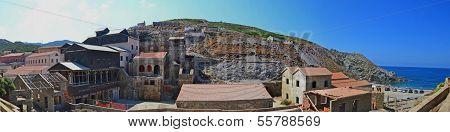 Silver mine remains and beach - Argentiera, Sardinia, Italy
