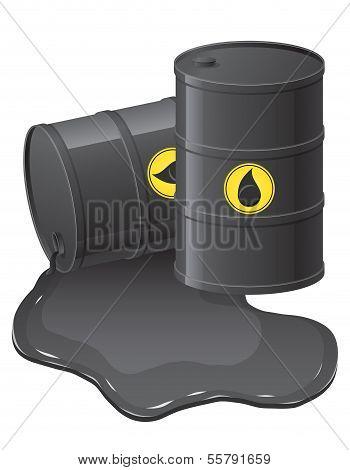 Black Barrels With Spilled Oil Vector Illustration
