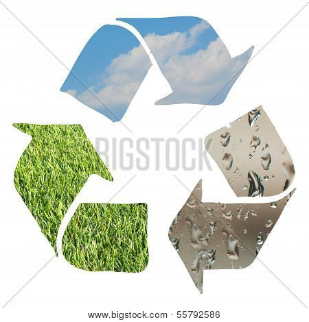 Recycle Sign Made With Grass, Clouds And Water Droplets