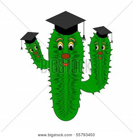 A Funny Cartoon Cactus In A Magister Cap