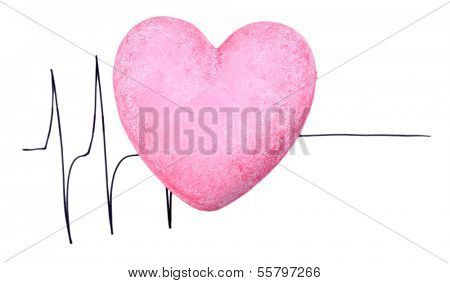 Heart on cardiogram background, isolated on white