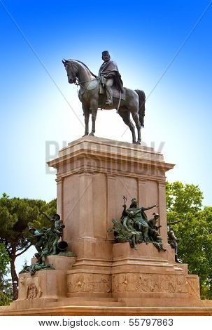 Faro de Gianicolo- Giuseppe Garibaldi's horse monument in Rome Italy