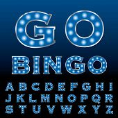 picture of grammar  - vector blue entertainment and casino letters with bulb lamps - JPG