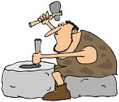 stock photo of caveman  - This illustration depicts a caveman carving a large stone wheel - JPG