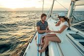 image of propose  - Romantic proposal scene on yacht in the sea - JPG