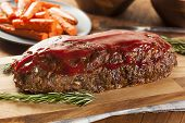 image of meatloaf  - Homemade Ground Beef Meatloaf with Ketchup and Spices - JPG