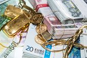Euro Bills And Gold