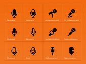 Microphone icons on orange background.