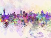 image of kuwait  - Kuwait City skyline in watercolor artistic abstract background - JPG