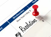 stock photo of fresh start  - Pin on calendar pointing new year resolutions close up - JPG