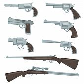 stock photo of colt  - Illustration of a collection of cartoon silver guns police colt and caliber revolver pistol and hunting or sniper rifles - JPG