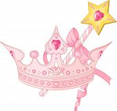 image of scepter  - Beautiful crown and  magic wand  for true princess - JPG
