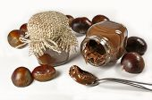 stock photo of irresistible  - Chestnuts and a chocolate cream in little jars isolated on white - JPG