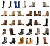 stock photo of woman boots  - Collection of various types boots over white - JPG