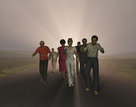 stock photo of horrifying  - Group of angry zombies walking down a road - JPG