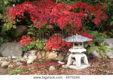 A Stone Lantern In A Japanese Ornamnetal Garden