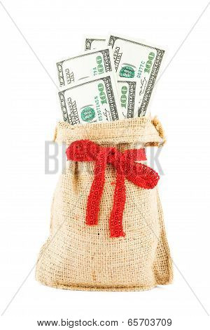 The dollars in a linen sack, bandaged by a gift red ribbon