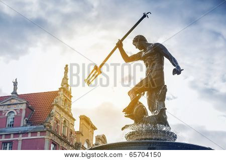 Famous Neptune fountain, symbol of Gdansk, Poland