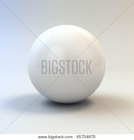 3d white glossy sphere