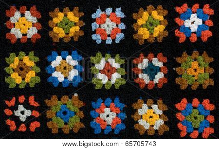Retro Homemade Crochet Blanket Made From Granny Squares