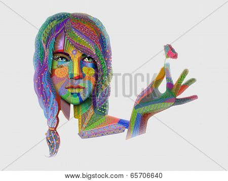 Woman Portrait With Multicolored Indian Pattern Holding Flower