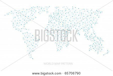 Blue World Map Dot Pattern Vector