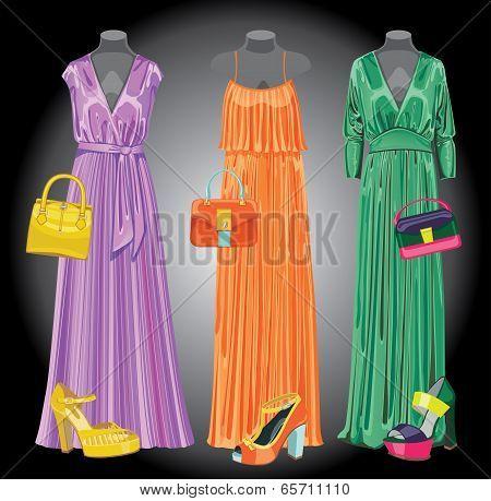 Set Of Three Long  Silk Party Dresses,handbags,shoes