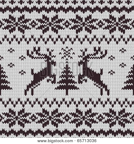 Vector Seamless Knitted Pattern with Deers