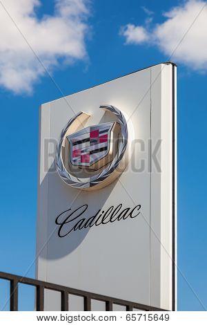 Samara, Russia - May 24, 2014: The Emblem Cadillac Over Blue Sky. Cadillac Motor Car Division Is A A