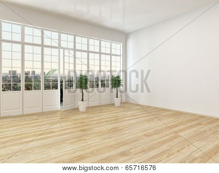 Empty living room interior with parquet floor and a large panoramic view window with a door leading to an outside patio, airy and bright with white walls