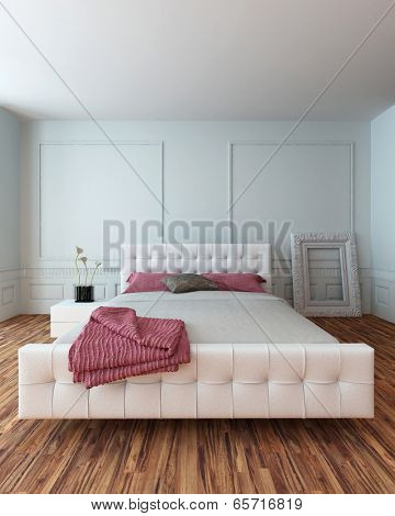 White leather upholstered bedroom suite in a modern white bedroom interior with a wooden parquet floor and striped red linen accents