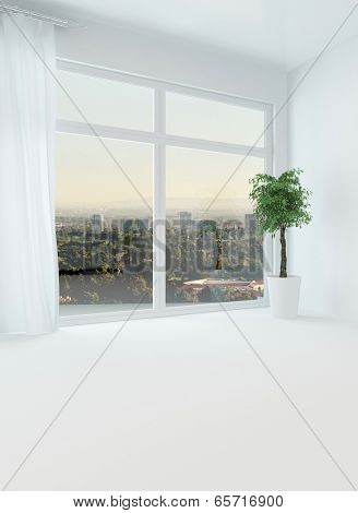 Bright light unfurnished apartment with a big view window over the distant town at dusk and white floor, walls and drapes