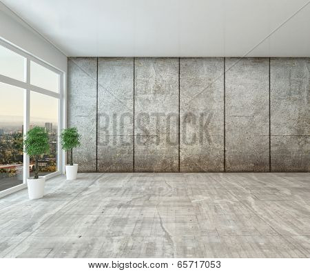 Empty spacious modern interior room with floor to ceiling view window and grey cement wall unfurnished except for two houseplants
