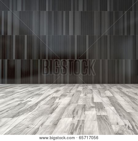 Spacious empty room with black wooden wall and white parquet floor