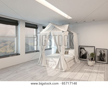 Modern spacious light and bright minimalist bedroom interior with a four poster bed, view windows and white parquet floor and walls